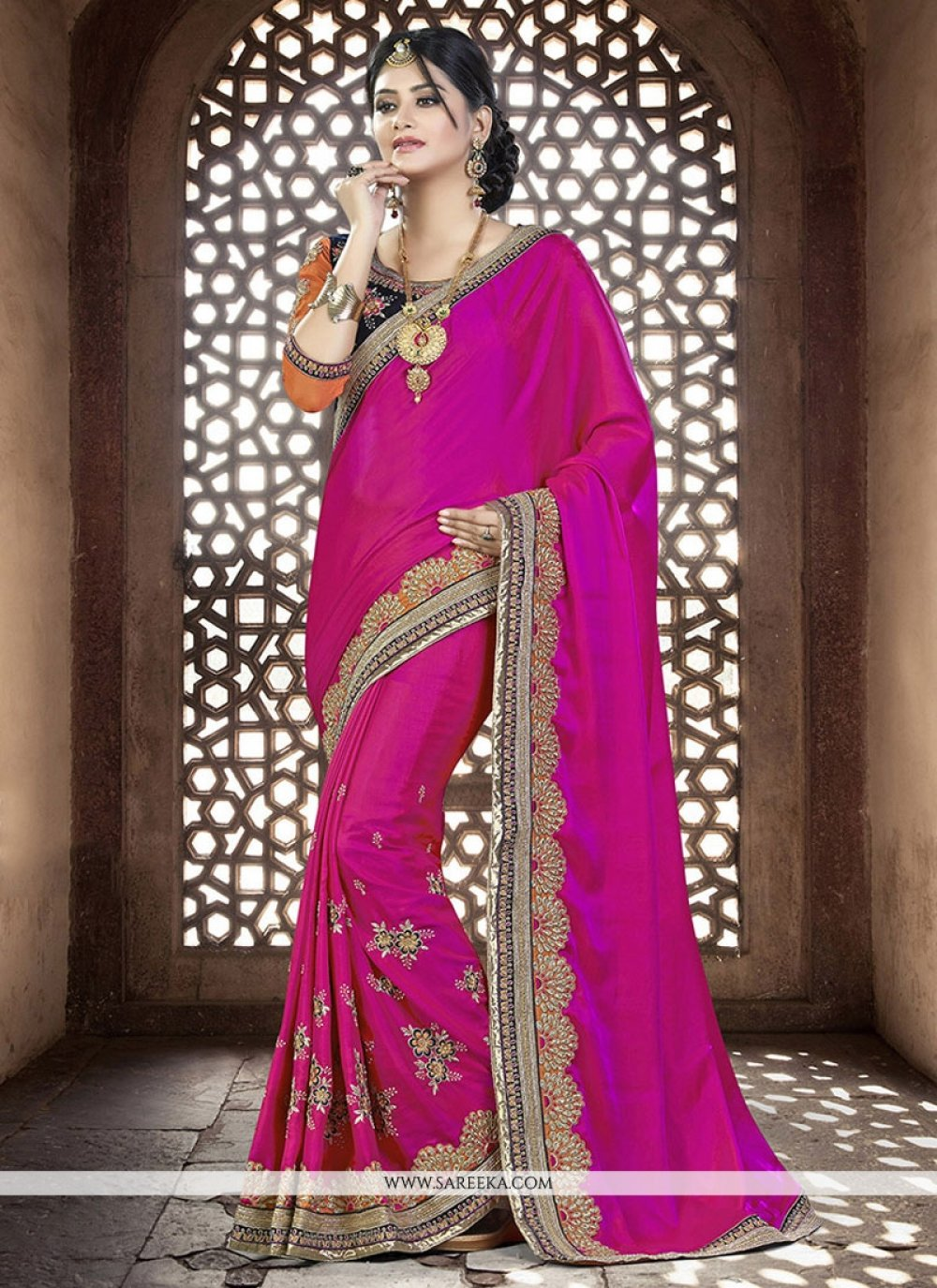 Satin Magenta Designer Traditional Sarees