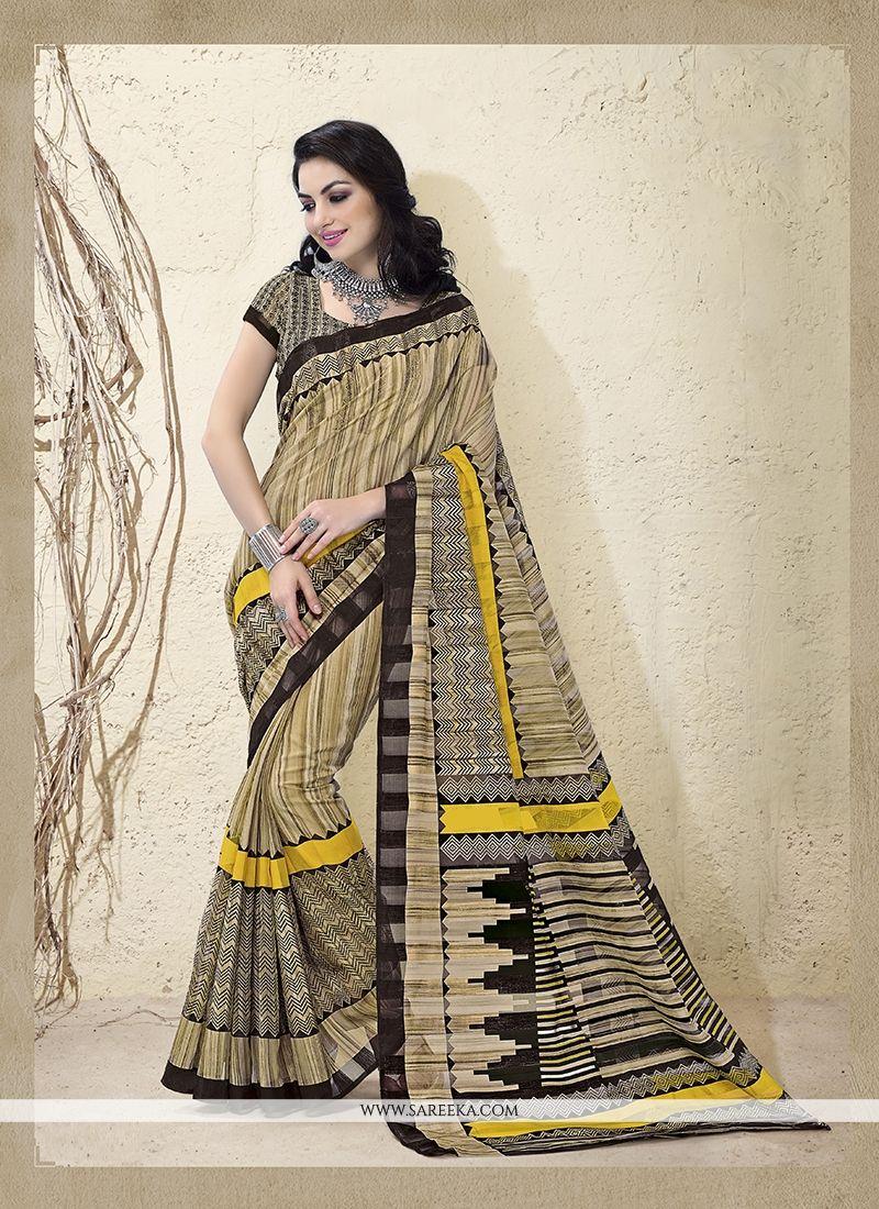 Bhagalpuri Silk Beige Casual Saree