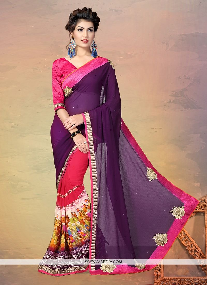 Faux Chiffon Patch Border Work Designer Half N Half saree