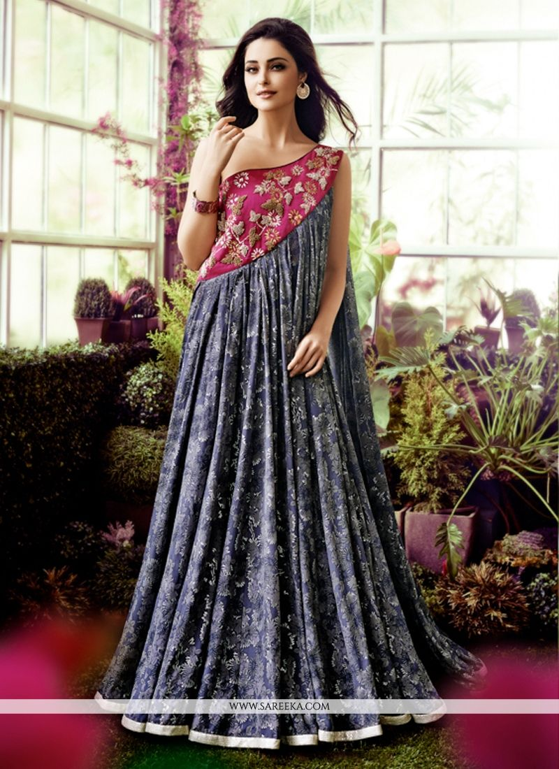 Faux Crepe Embroidered Work Designer Gown