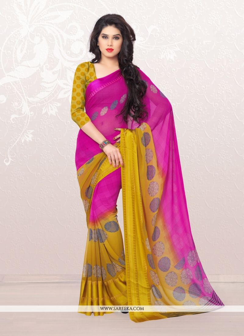 Hot Pink Print Work Casual Saree