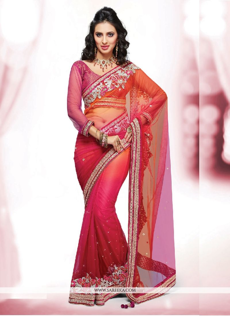 Patch Border Work Net Classic Designer Saree