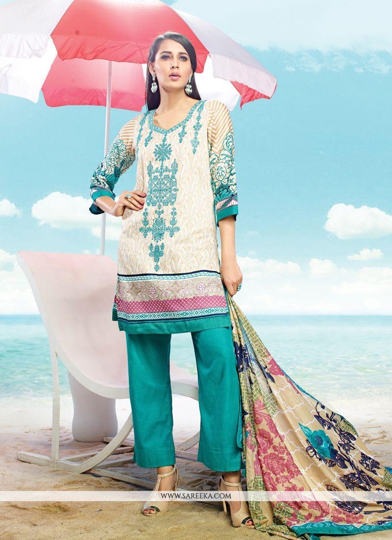 Multi Colour Cotton Satin Pant Style Suit