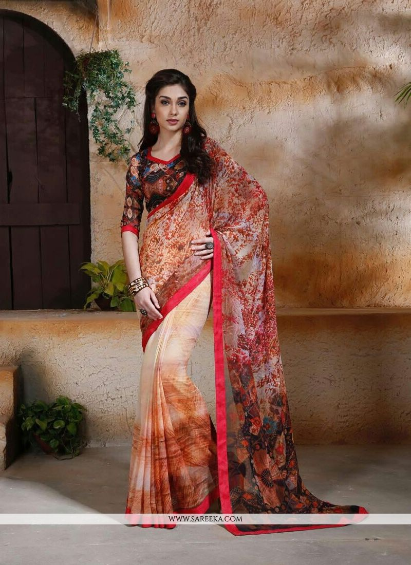 Multi Colour Digital Print Work Georgette Designer Saree
