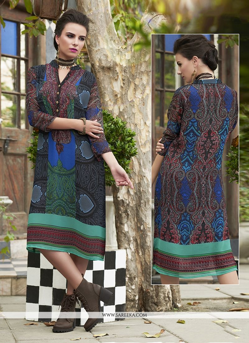 Multi Colour Georgette Party Wear Kurti