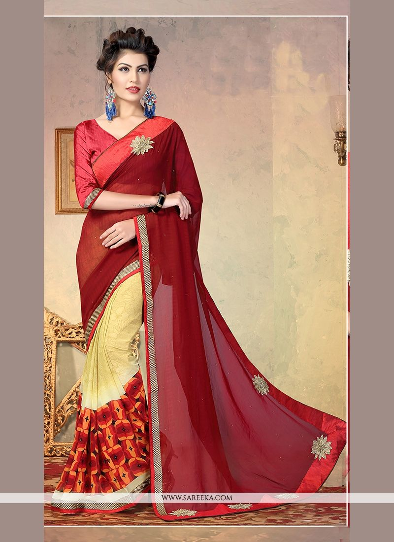 Multi Colour Patch Border Work Faux Chiffon Designer Half N Half saree