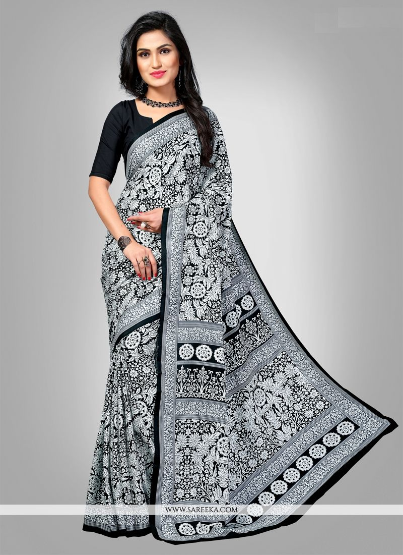 Multi Colour Print Work Faux Crepe Casual Saree
