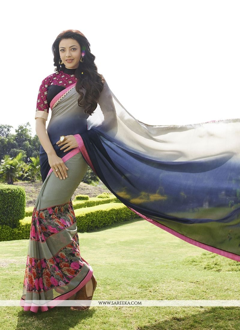Multi Colour Print Work Georgette Designer Saree