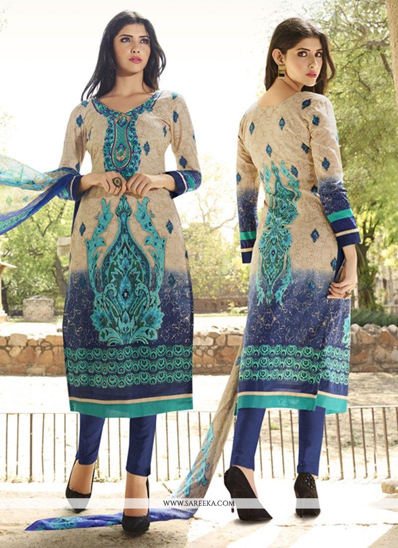 Embroidered Work Blue and Cream Cotton   Churidar Designer Suit