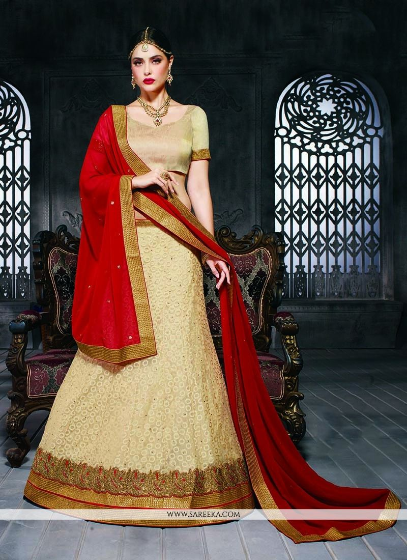 Net Beige Patch Border Work A Line Lehenga Choli