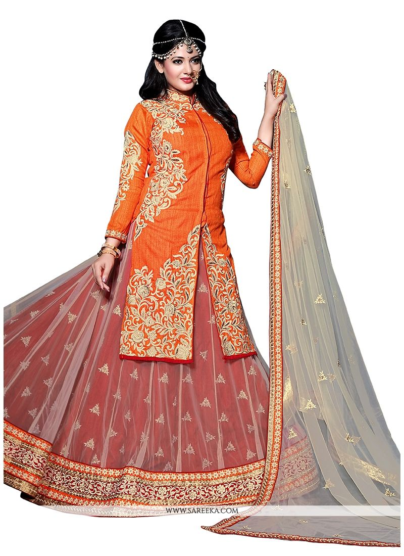 Net Orange A Line Lehenga Choli