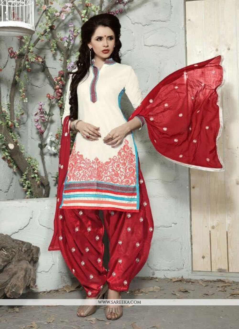Off White Trendy Punjabi Churidar Suit