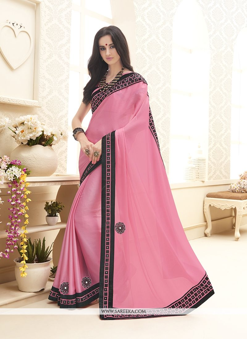 Chiffon Satin Pink Embroidered Work Designer Saree