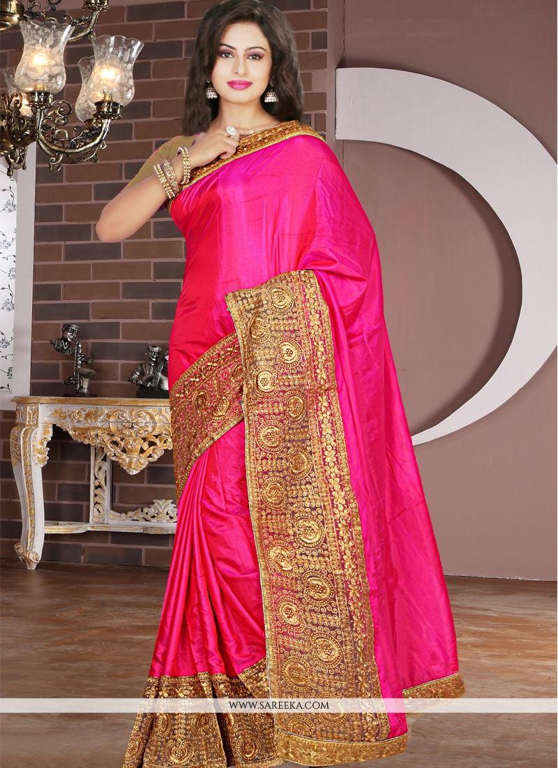 b03b20f51673fb Buy Embroidered Work Hot Pink Silk Designer Saree Online : Canada -