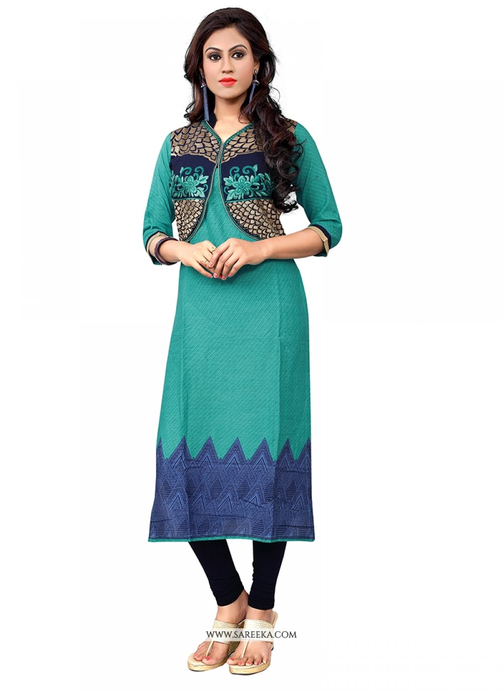 Embroidered Work Sea Green Party Wear Kurti