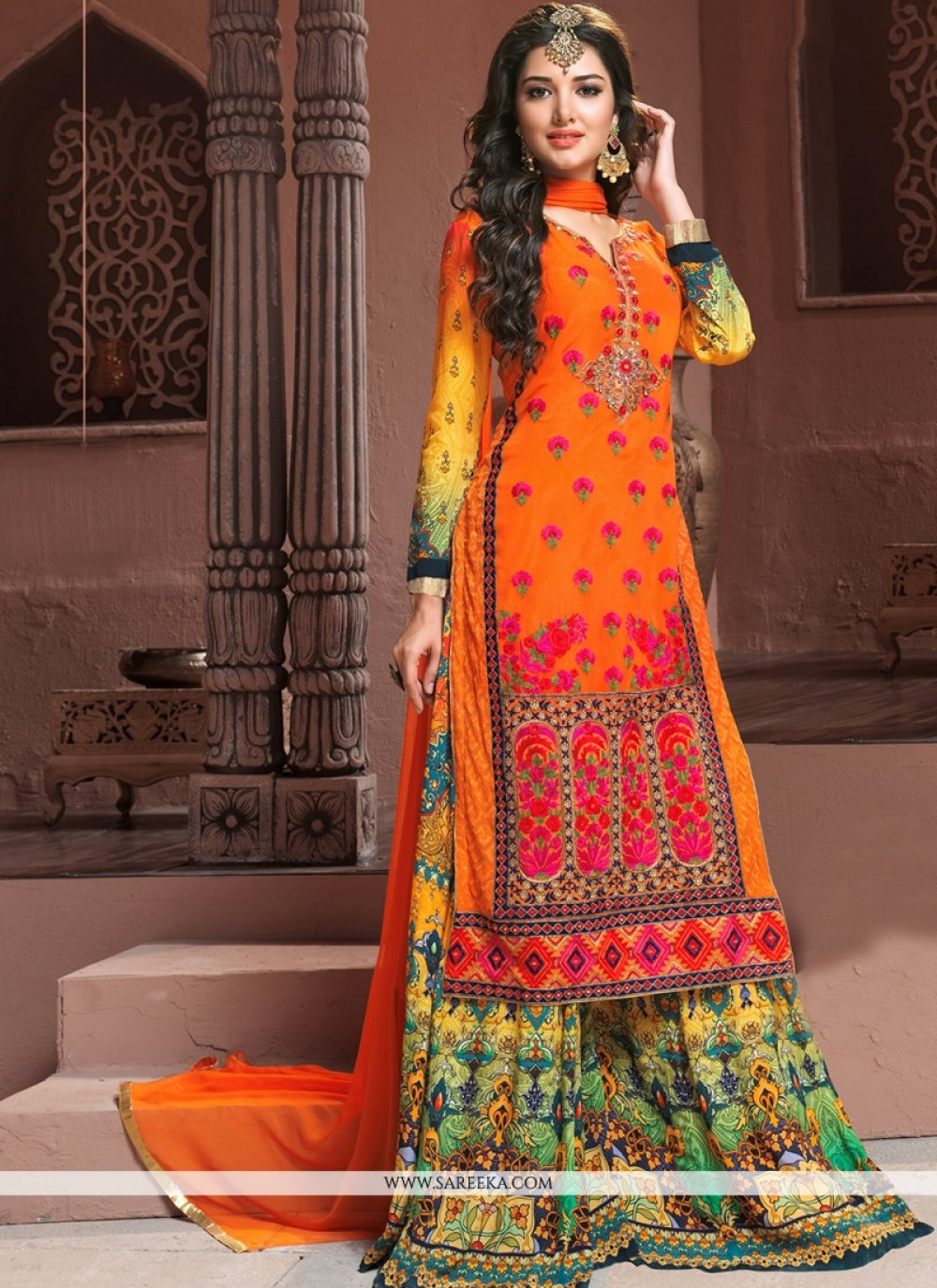 Georgette Orange Designer Palazzo Salwar Kameez