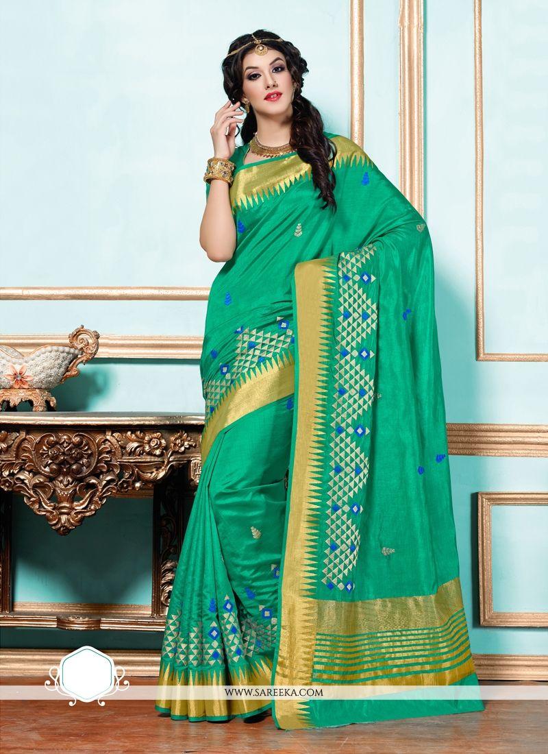 Tussar Silk Patch Border Work Designer Saree