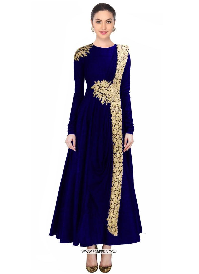 Buy Navy Blue Net Designer Salwar Suit Online at best price