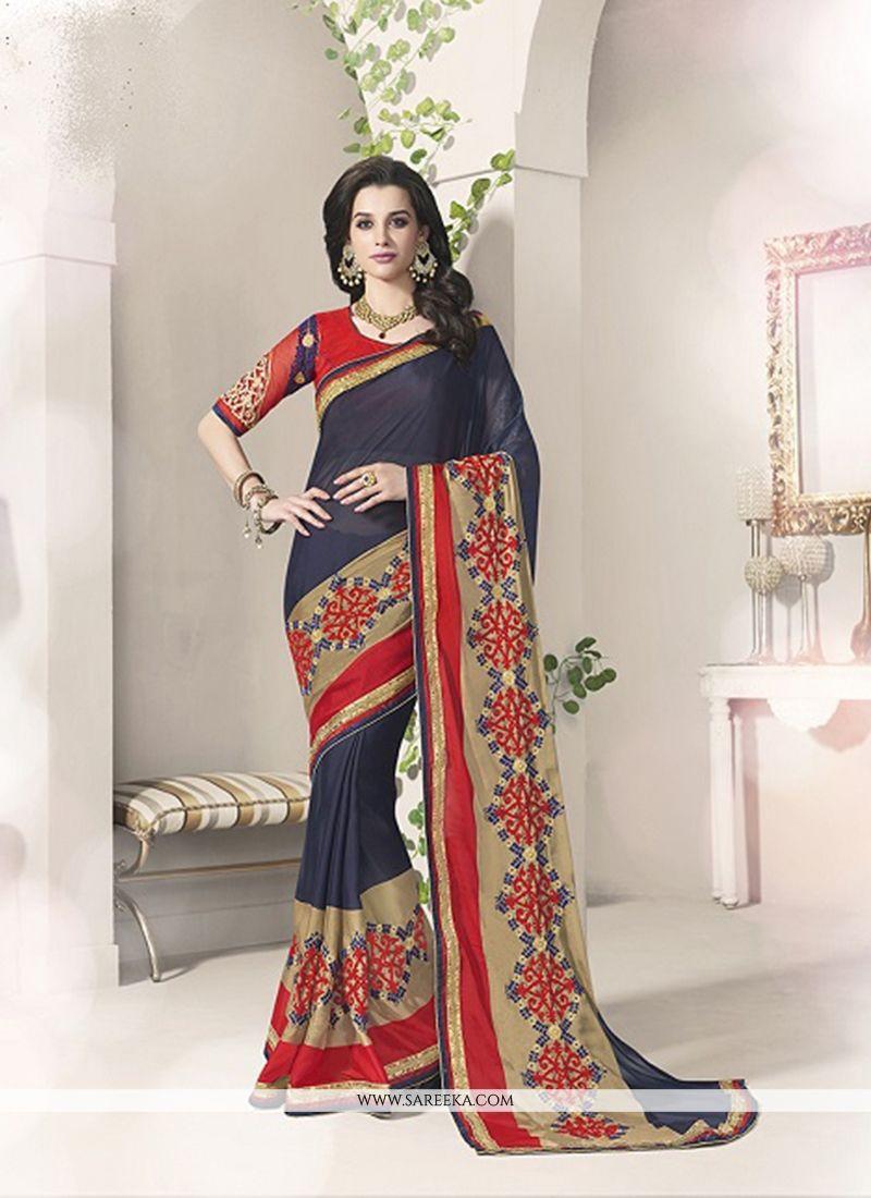 Navy Blue Patch Border Work Silk Designer Saree