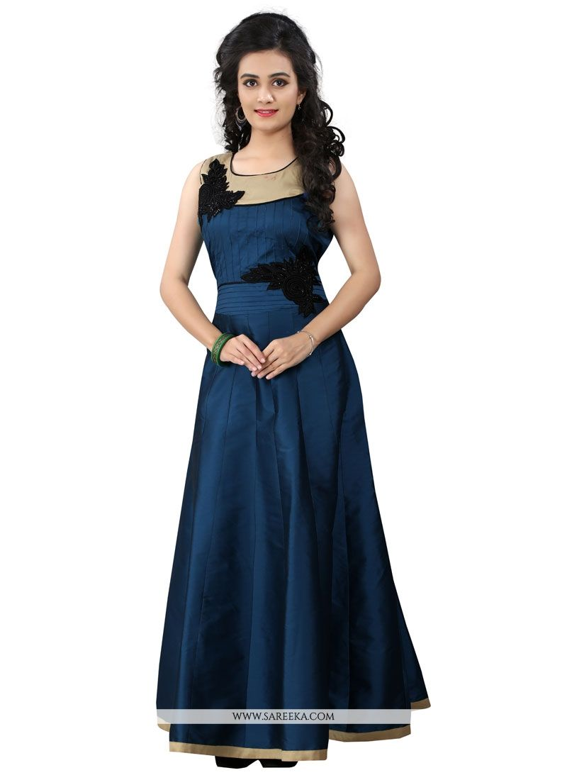 Popular Buy Navy Blue Silk Resham Work Designer Gown Online : New Zealand - DE48