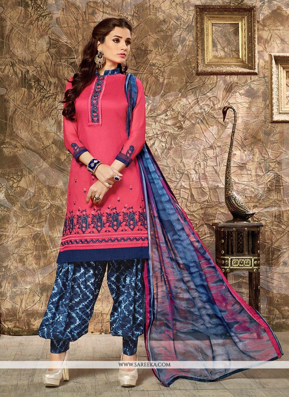 Cotton   Resham Work Punjabi Suit