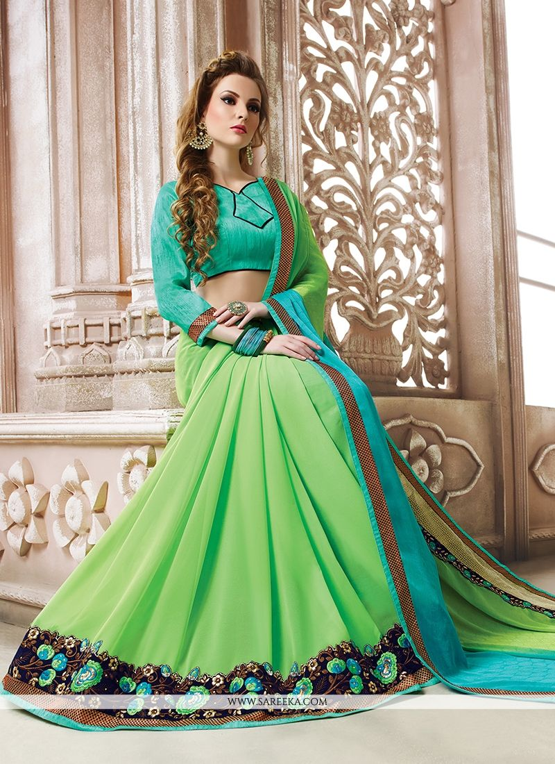Embroidered Work Georgette Designer Saree