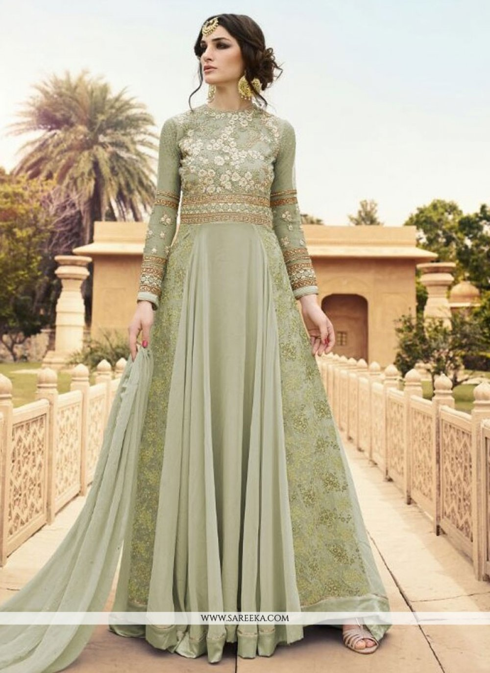 Embroidered Work Green Georgette Designer Floor Length Suit