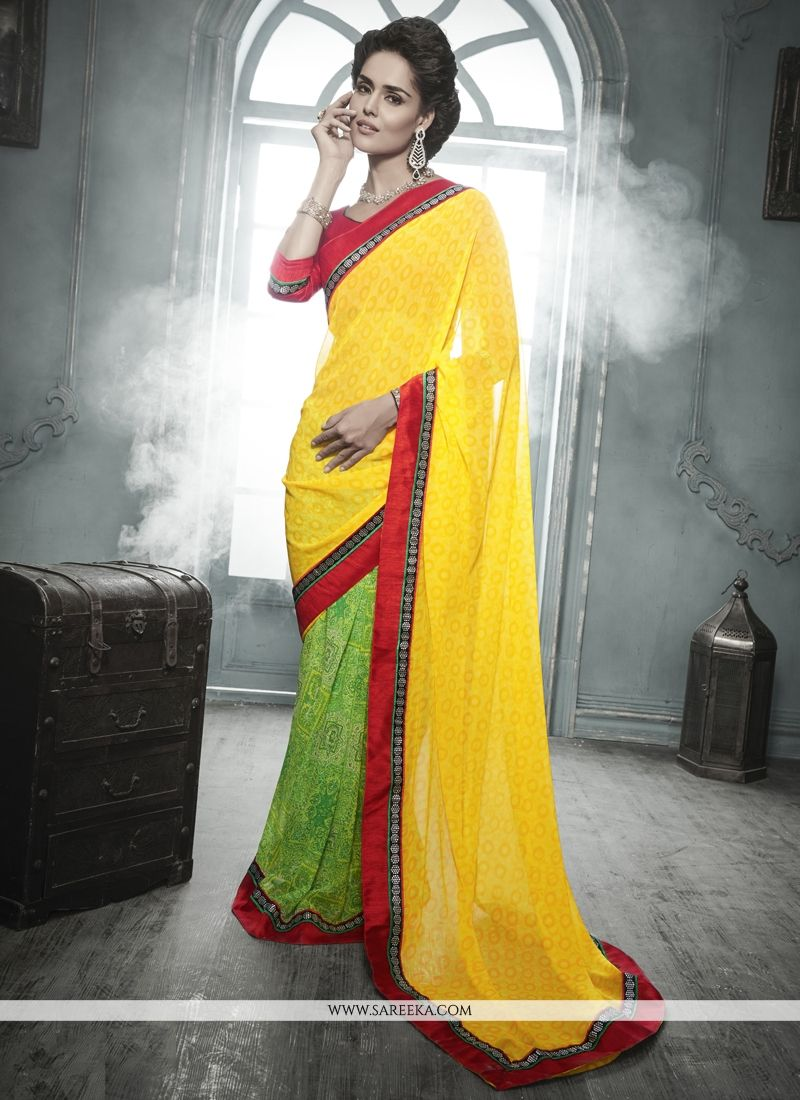 Green and Yellow Designer Saree
