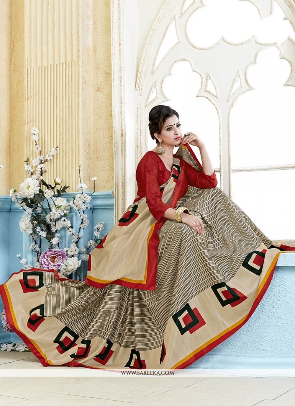 Multi Colour Print Work Kanchipuram silk Casual Saree