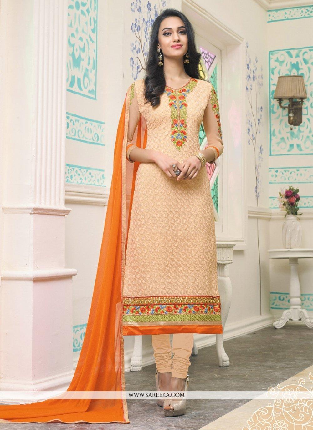 Orange Embroidered Work Georgette Churidar Designer Suit