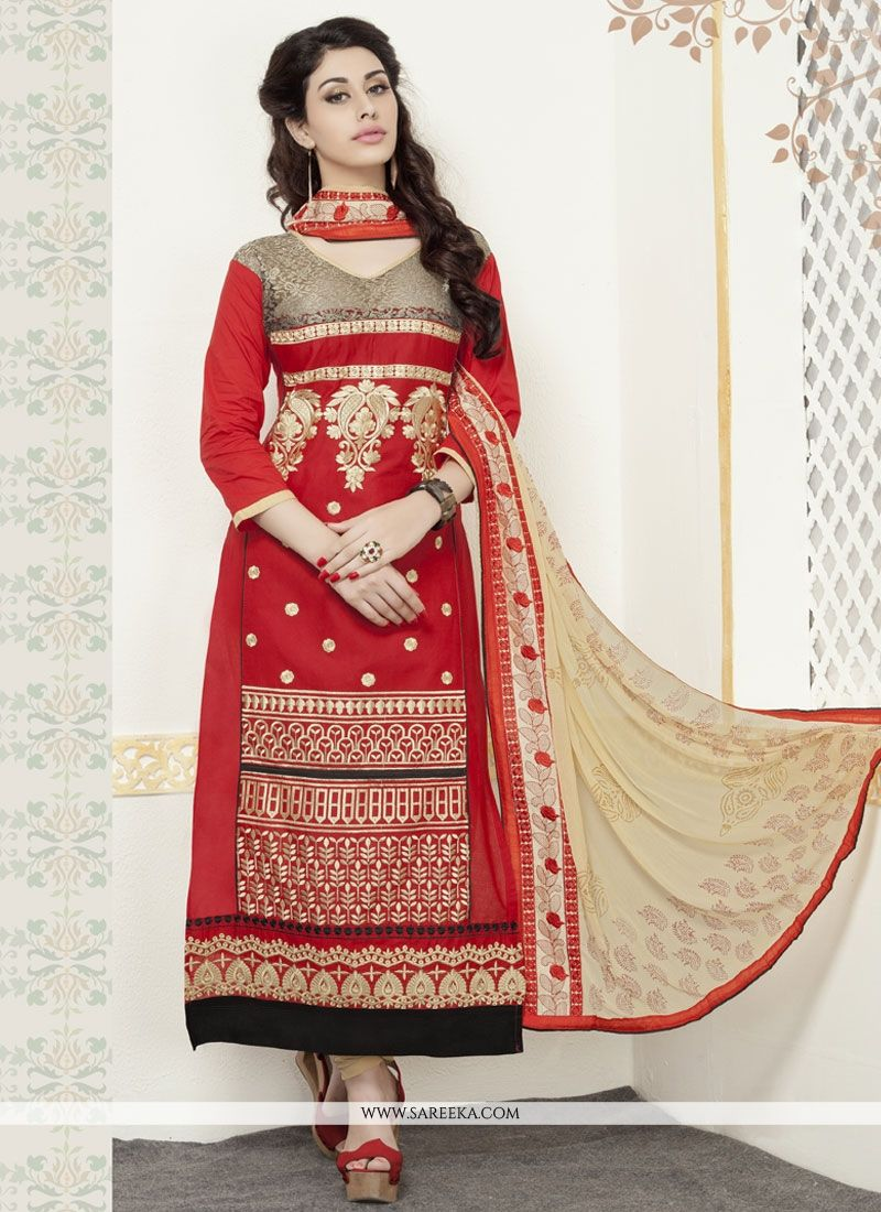 Red Embroidered Work Churidar Designer Suit