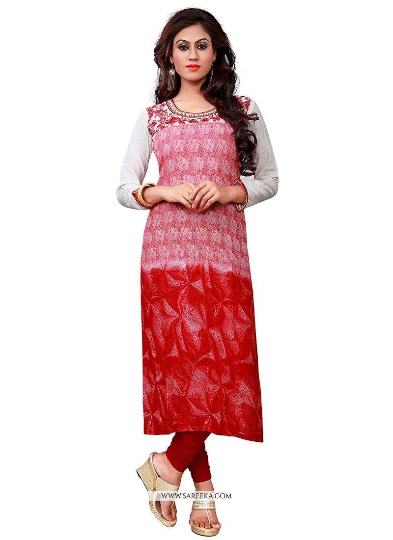Red Embroidered Work Cotton   Party Wear Kurti