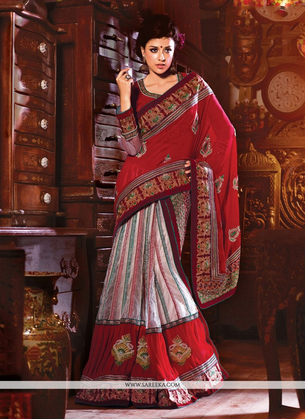 Net Off White and Red Patch Border Work Designer Saree