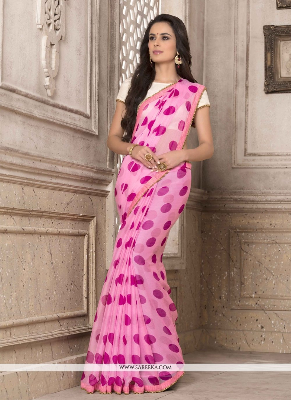 Print Work Hot Pink Georgette Printed Saree