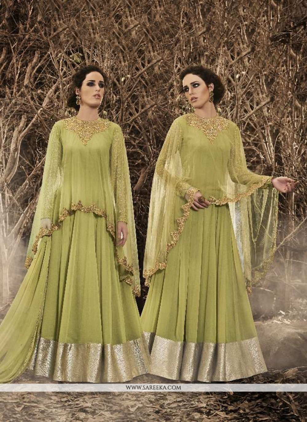 Embroidered Work Green Designer Floor Length Salwar Suit