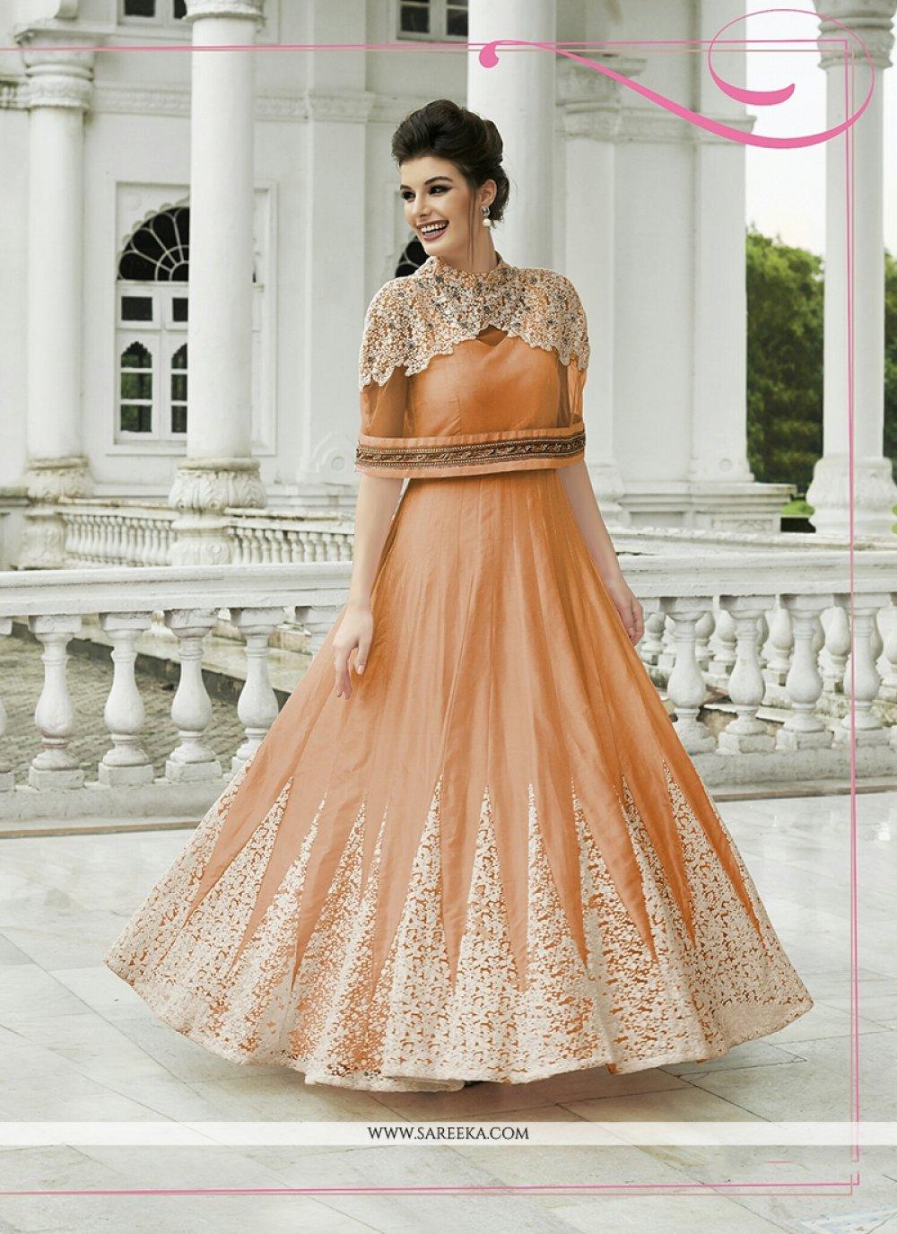 Net Orange Anarkali Salwar Kameez