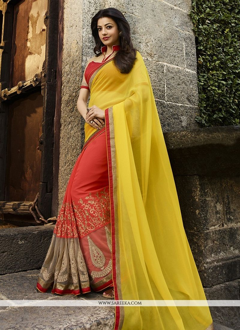 Patch Border Work Yellow Jacquard Designer Saree