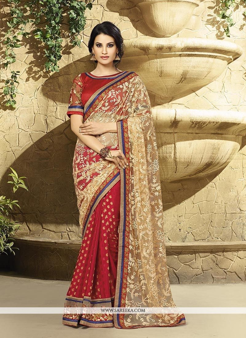 Red Embroidered Work Classic Designer Saree