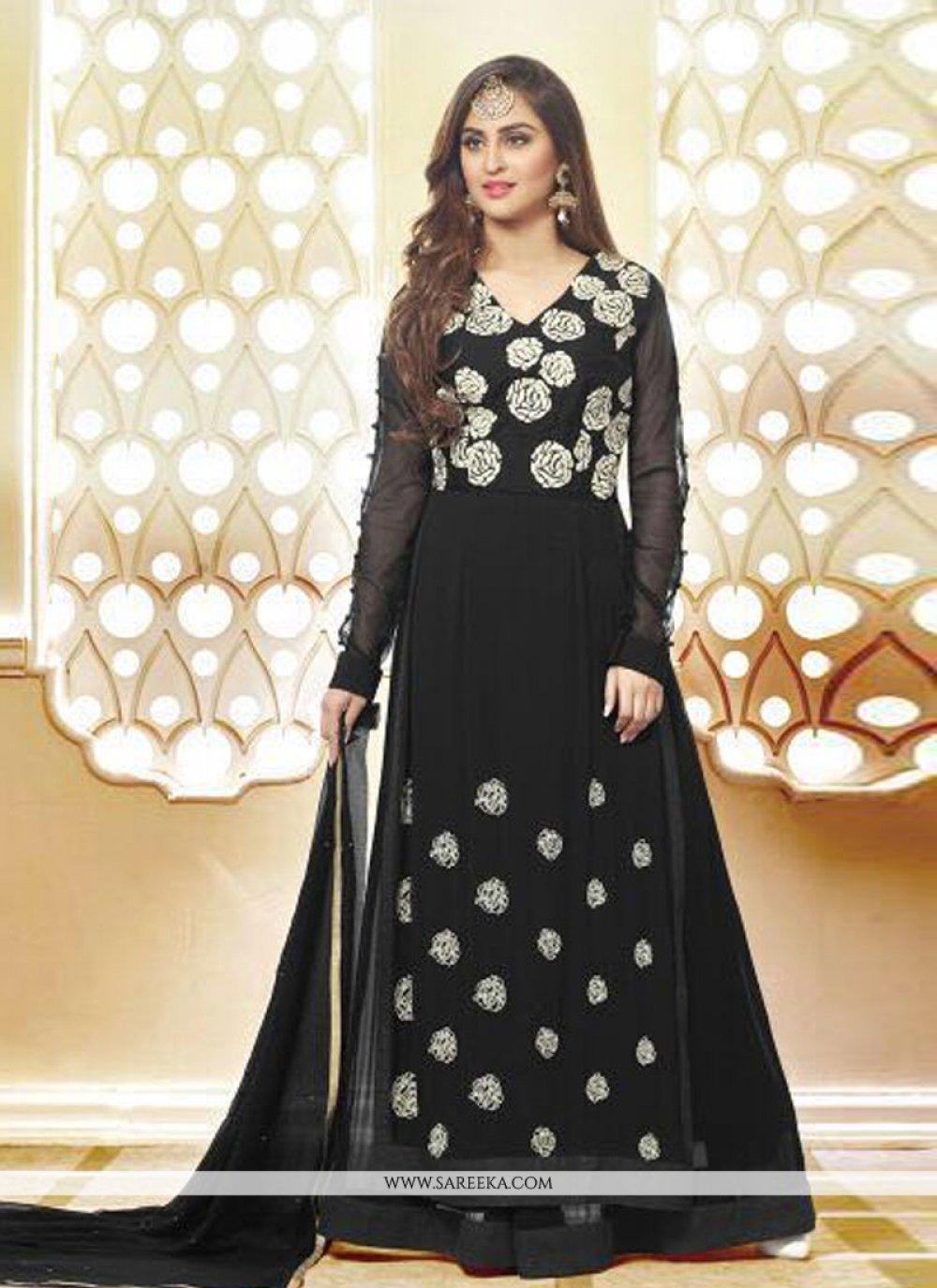 Resham Work Black Anarkali Salwar Kameez