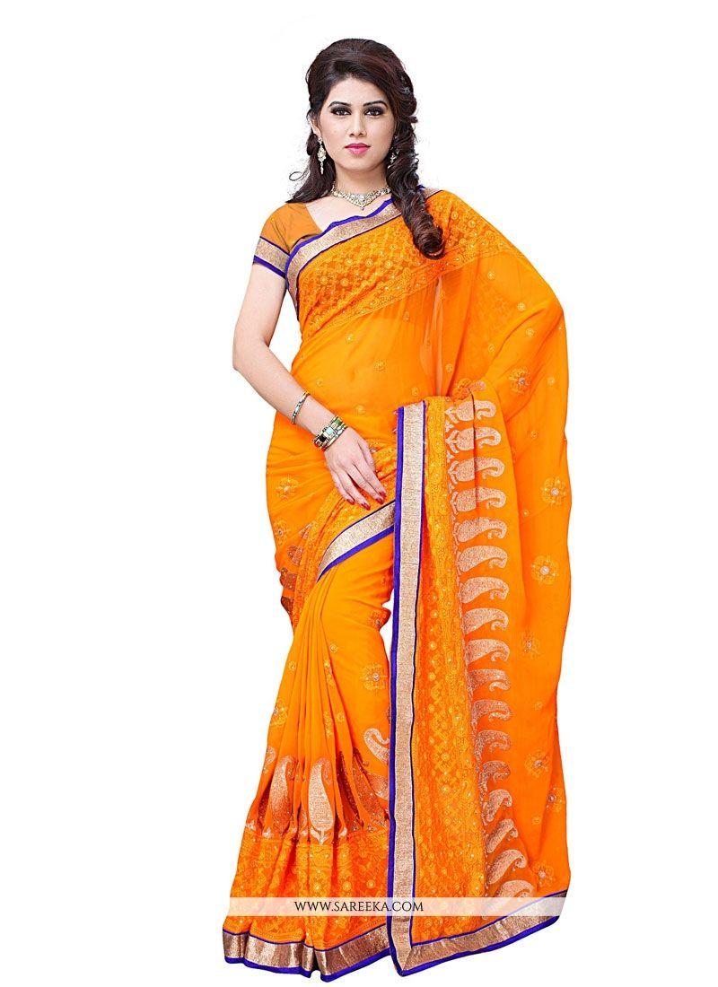 Orange Embroidered Work Georgette Designer Saree