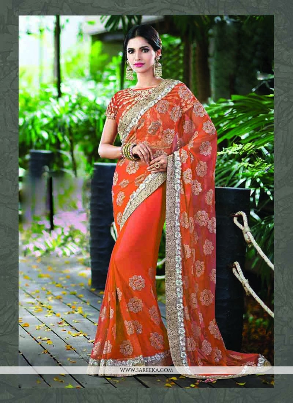 Orange Patch Border Work Net Trendy Saree