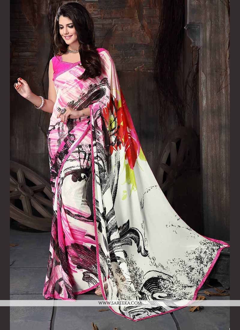 Georgette Multi Colour Print Work Casual Saree
