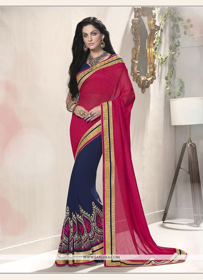 Jacquard Navy Blue Designer Saree
