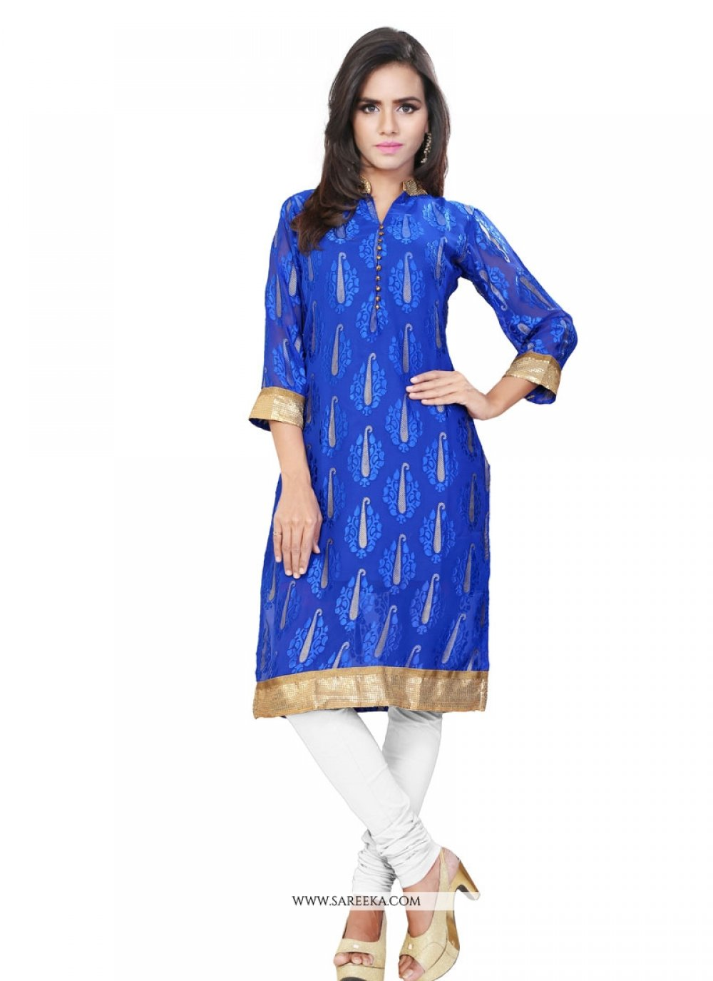 Lace Work Blue Brasso Party Wear Kurti