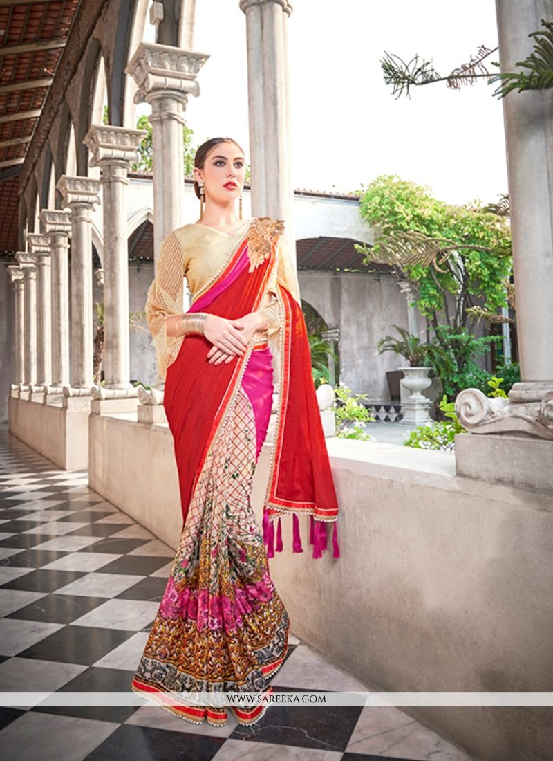 Multi Colour Georgette Classic Designer Saree