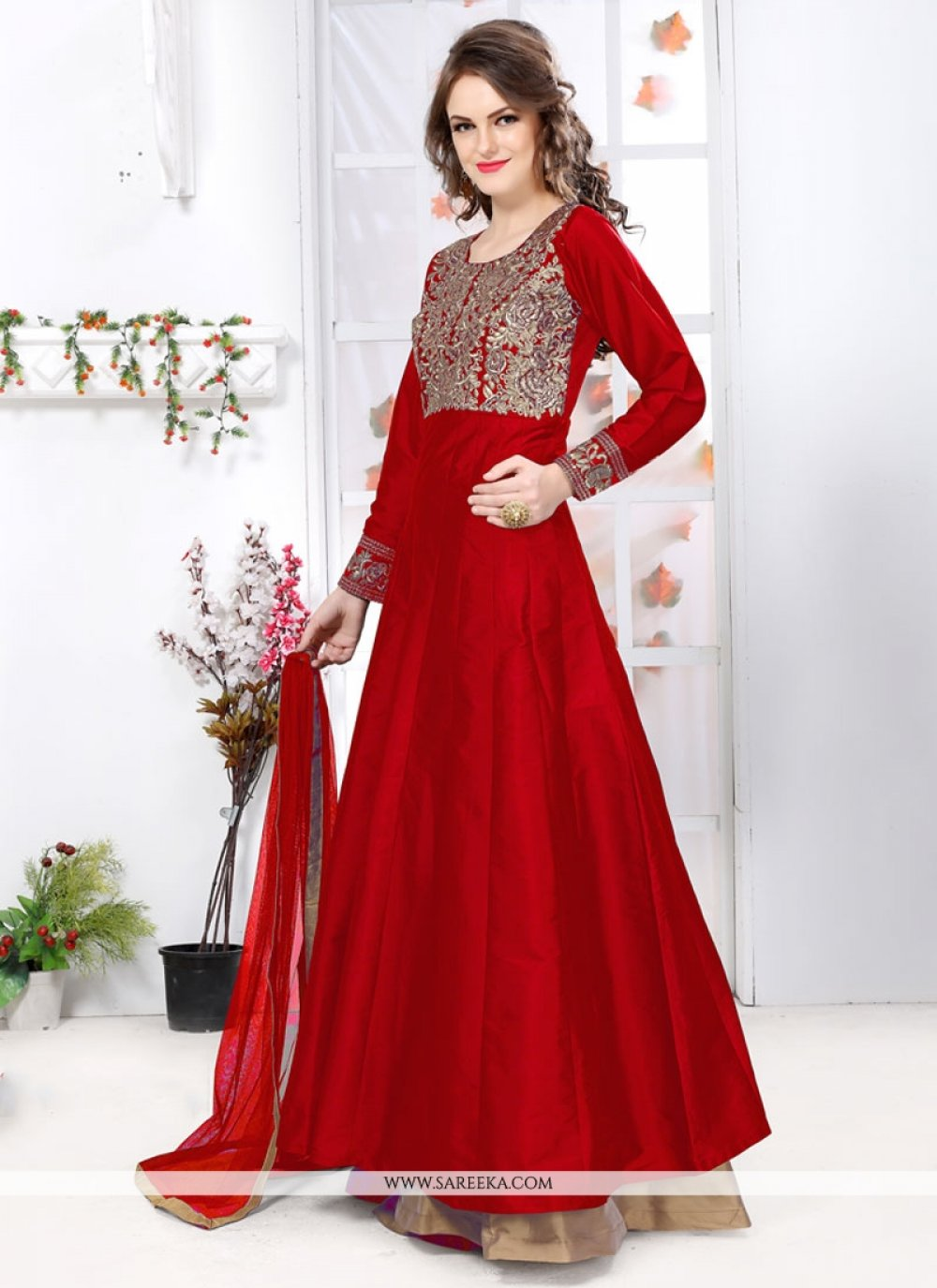 Resham Work Tafeta silk Red Designer Floor Length Suit