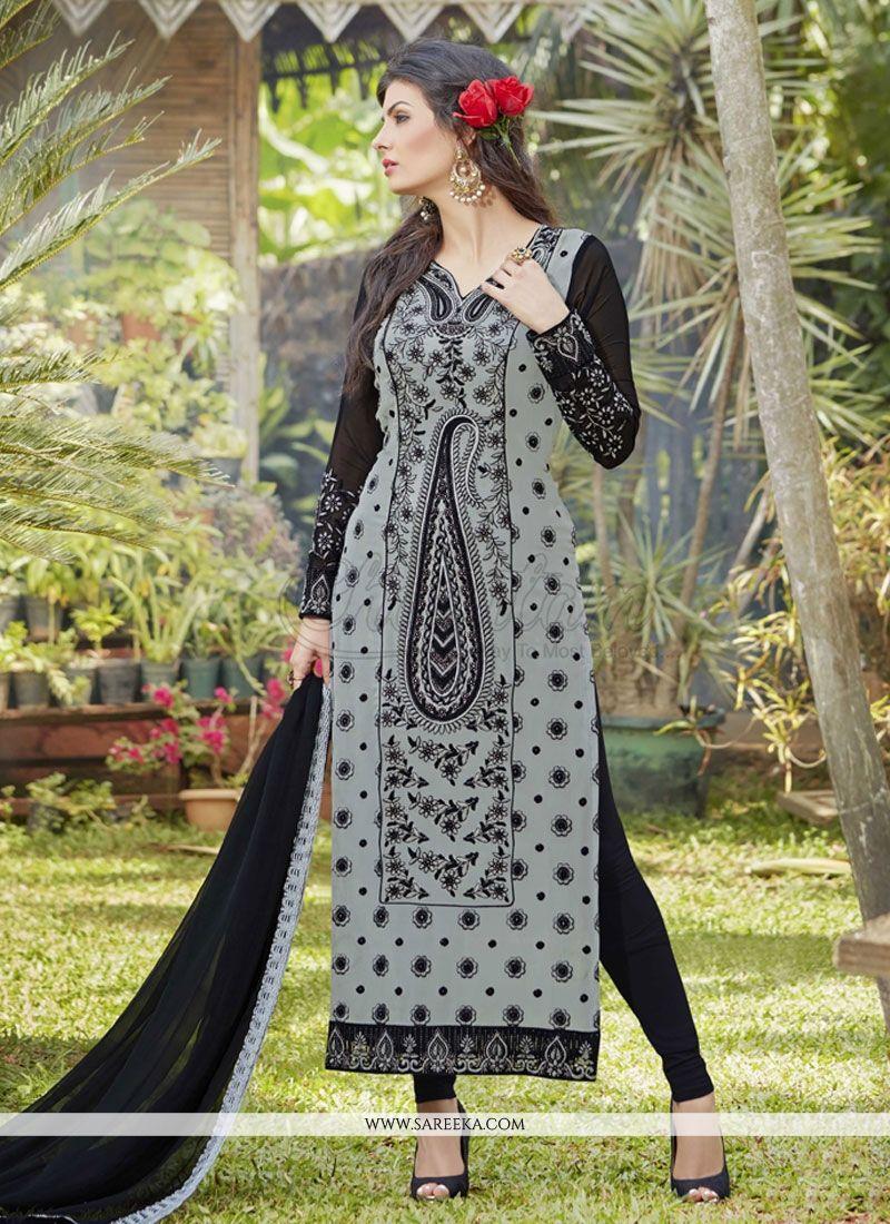 Embroidered Work Grey Georgette Designer Suit