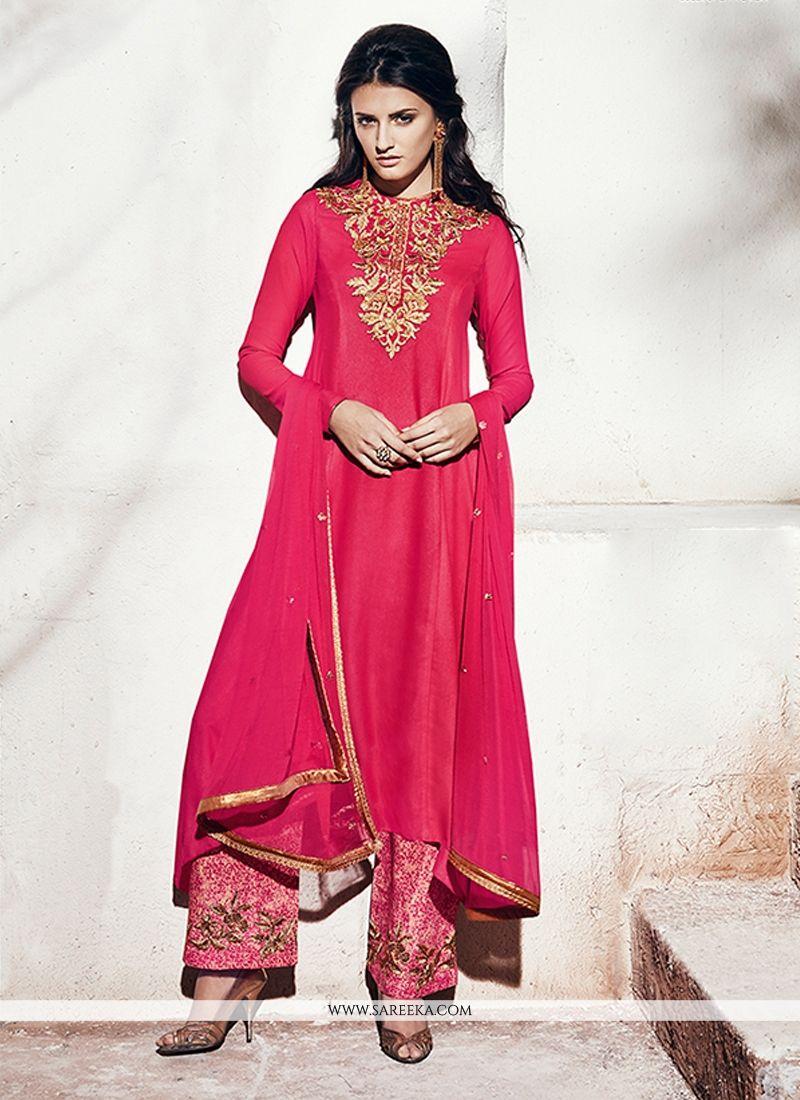 Georgette Hot Pink Designer Suit