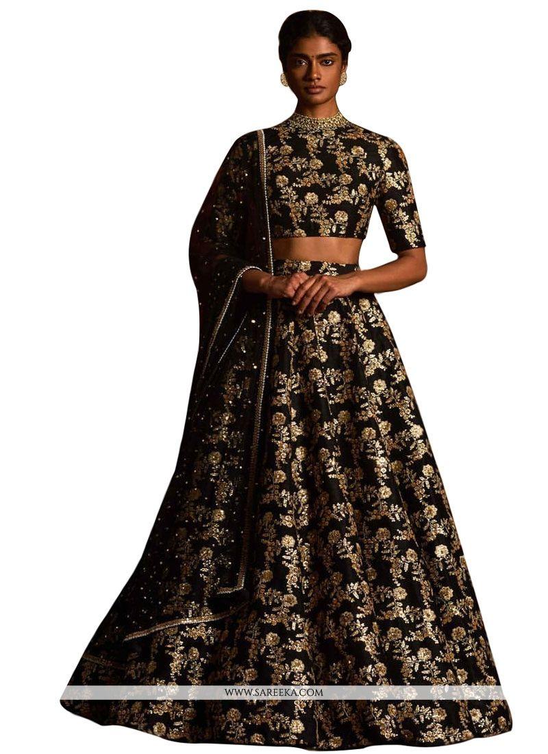 6c7fb21d17 Buy Raw Silk Black A Line Replica Lehenga Choli Online : Indian Ethnic Wear  -