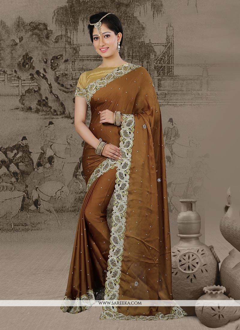 Patch Border Chiffon Satin Classic Designer Saree in Brown